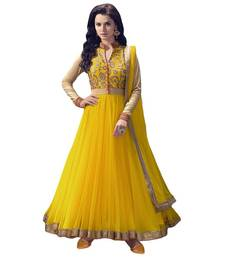 Buy Yellow embroidered net unstitched salwar with dupatta anarkali-salwar-kameez online