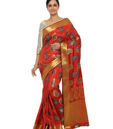 Buy Rust woven art silk saree with blouse art-silk-saree online