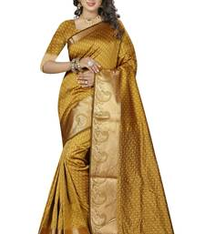 Buy Yellow woven kanchipuram silk saree with blouse party-wear-saree online