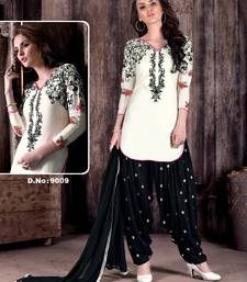 Buy White embroidered cotton semi stitched salwar with dupatta patiala-salwar online