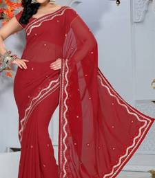 Buy Maroon Color Faux Georgette Saree with Blouse georgette-saree online
