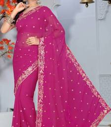 Buy Magenta Color Faux Chiffon Saree with Blouse chiffon-saree online