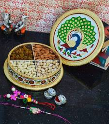 Buy eCraftIndia Rakhi set for Bhaiya/Bhabhi with Meenakari DryFruit Box tray online