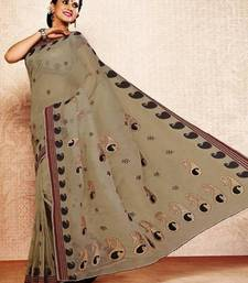 Buy Dove Grey Color Cotton Saree DCS113 cotton-saree online