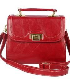Buy Just Women Deep Blood Red PU Leather Satchel sling-bag online