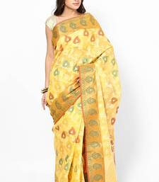 Buy Organza Cotton Fancy Silk Stripe Contrast Banarasi Saree organza-saree online