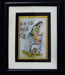 Buy eCraftIndia Pretty Ragini Marble Painting playing with Calf (Wooden Framed) wall-art online