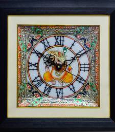 Buy eCraftIndia Exquisite Lord Ganesha and Peocock Marble Wall Clock with LED & Wooden Frame wall-clock online