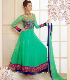 Buy Aqua green designer party wear anarkali salwar kameez pakistani-salwar-kameez online