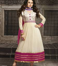 Buy Karishma Kapoor OffWhite Long Embroidered Anarkali Suit semi-stitched-salwar-suit online