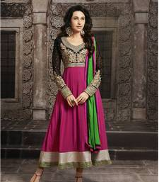 Buy Karishma Kapoor Beautiful Pink Long Sleeve Anarkali Suit semi-stitched-salwar-suit online