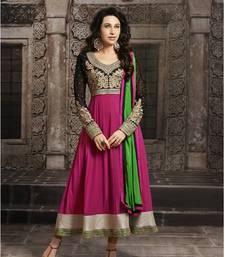 Buy Karishma Kapoor Beautiful Pink Long Sleeve Anarkali Suit semi-stitched-salwar-suit online