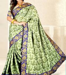 Buy Green color jute jacquard saree with blouse jute-saree online