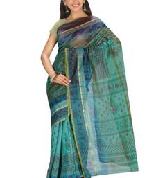 Buy Aria Printed Tussar Art Silk Saree in Green KS011 tussar-silk-saree online