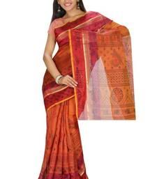 Buy Aria Printed Tussar Art Silk Saree in Brown KS013 tussar-silk-saree online
