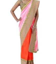 Buy Half and Half Saree with Pink Batik Print Pallu and Orange Raw silk Pleats | Sweta Sutariya silk-saree online