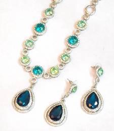 Buy Royal elegant stylish Party wear AD n colored stone necklace set necklace-set online