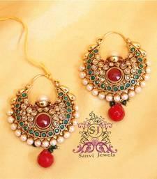 Buy Multicolour Polki & Pearl Chaand Baali  danglers-drop online