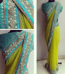 Buy green embroidered Net saree with blouse net-saree online