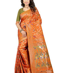 Buy Orange embroidered patola saree with blouse patola-sari online