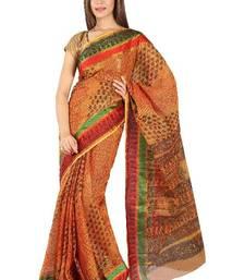 Buy Kota doria hand block saree with silk border cotton-saree online