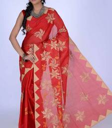 Buy Vermilion Red Cotton Embroidered Party and Festival Saree cotton-saree online