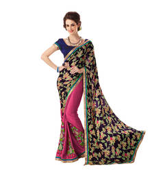 Buy Embroidery Sarees Tantalizing Multicolor Georgette  Embroidered work designer-embroidered-saree online
