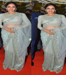 Buy Light sky blue embroidered net saree with blouse sridevi-saree online