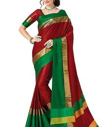 Buy red printed cotton saree with blouse tussar-silk-saree online