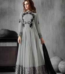Buy Lawn grey embroidered georgette semi stitched salwar with dupatta dress-material online
