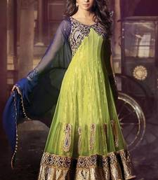 Buy Priynka chopra green color embroidered semi stitched designer anarkali suit semi-stitched-salwar-suit online