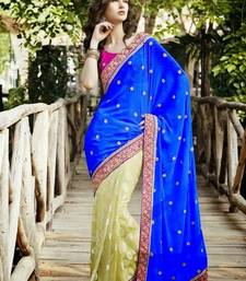 Buy Blue & off white color crep with brasso saree crepe-saree online