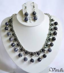 Buy White Metal and Indigo Beads Necklace set necklace-set online
