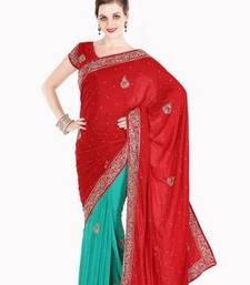 Buy Diwali OffersLovely Red and Green Velvet and Faux Georgette Saree with Blouse diwali-discount-offer online