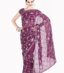 Buy Diwali Offers Stylist Dark Purple Faux Georgette Saree with Blouse diwali-discount-offer online