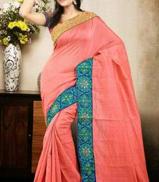 Buy Sophisticated Peach Color Bhagalpuri Silk Saree with Blouse bhagalpuri-silk-saree online