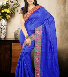 Buy Nice Blue Color Bhagalpuri Silk Saree with Blouse bhagalpuri-silk-saree online