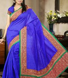 Buy Dazzling Blue Color Bhagalpuri Silk Saree with Blouse bhagalpuri-silk-saree online