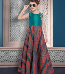Buy multicolor embroidered American Crepe kids-salwar-suits gifts-for-kid online