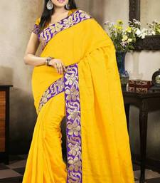 Buy Elegant Yellow Color Bhagalpuri Silk Saree with Blouse bhagalpuri-silk-saree online