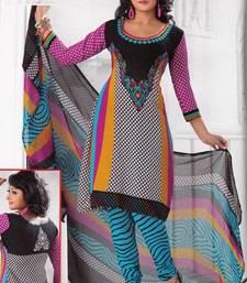 Buy Elegant Crepe Designer Printed Unstitched Dress Material Suit D.No PO1517 dress-material online