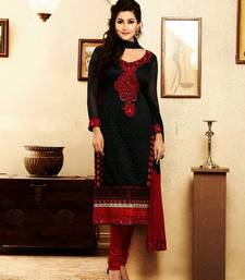 Buy Beautiful Black & Red Georgette Salwar semi-stitched-salwar-suit online