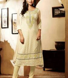 Buy Beautiful off-white Georgette Salwar semi-stitched-salwar-suit online