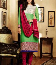 Buy Beautiful Green & Pink Georgette Salwar semi-stitched-salwar-suit online