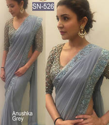 Buy Grey plain georgette saree with blouse anushka-sharma-saree online