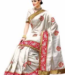 Buy White Colour Raw Silk Designer Saree with Heavy Border - SR1774 silk-saree online