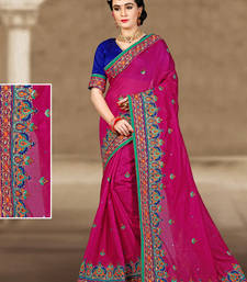 Buy Rani pink hand woven chanderi silk saree with blouse chanderi-saree online