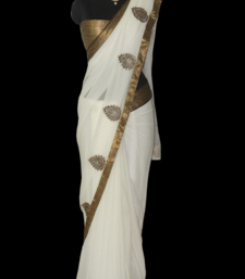 Buy white & antique gold kundan work georgette-saree online