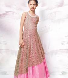Buy White Button Pink hand work satin SIlk Brown Chiffli Embroidery RedyMade Girls Party wear Gown (4-14 years) kids-frock online