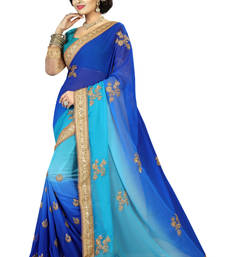 Buy Blue plain georgette saree with blouse party-wear-saree online